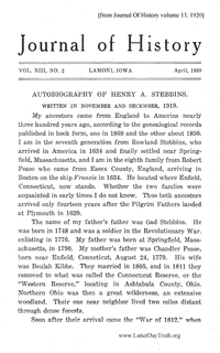 Autobiography Of Henry A. Stebbins [from Journal Of History volume 13]