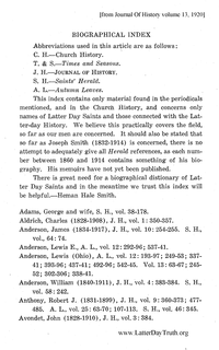 Biographical Index For Church History, Times And Seasons, Journal Of History, Autumn Leaves [from Journal Of  History volume 13]