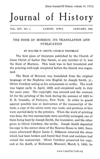 The Book Of Mormon, Its Translation And Publication [from Journal Of History volume 14]