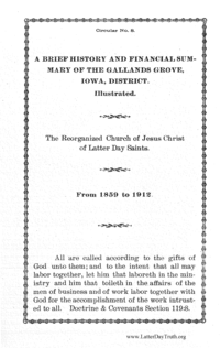 A Brief History And Financial Summary Of The Galland's Grove, Iowa District