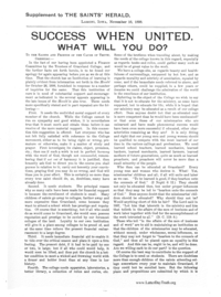 Supplement To The Saints' Herald November 16, 1898 - Success When United. What Will You Do?