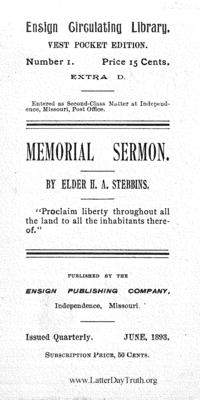 Memorial Sermon [Ensign Circulating Library no. 1 extra D], 1893