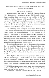 History Of The Cutlerite Faction Of The Latter Day Saints [from Journal Of History volume 13]