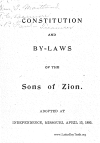 Constitution And By-Laws Of The Sons Of Zion. Adopted At Independence, Missouri, April 13, 1895