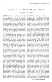 Sermon By Elder James Whitehead Lamoni, Iowa 22D May, 1887 [from Autumn Leaves vol. 1], 1888