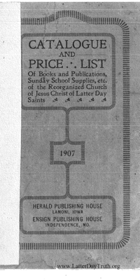 1907 Herald Publishing House And Bookbindery Catalogue And Price List