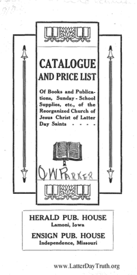 1910 Herald Publishing House And Bookbindery Catalogue And Price List