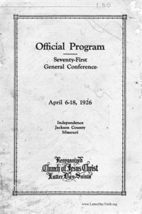 1926 Official Program Seventy-First General Conference April 6-18, 1926 Independence Jackson County Missouri
