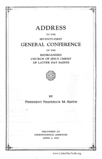 1926 Address To The Seventy-First General Conference Of The Reorganized Church Of Jesus Christ Of Latter Day Saints