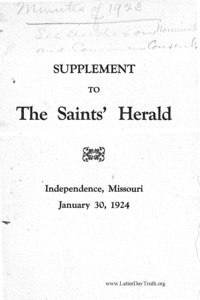 1923 Minutes Of General Conference [Supplement To The Saints' Herald, pages 3327-3620]