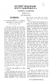 Sermon By Joseph R. Lambert [Supplement Lamoni Gazette]