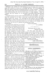 1870 Annual General Conference Minutes