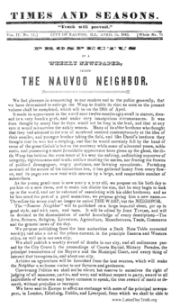 Prospectus Of A Weekly Newspaper, Called The Nauvoo Neighbor [from Times And Seasons volume 4]