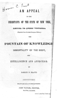 An Appeal To The Inhabitants Of The State Of New York, Letter To Queen Victoria, (Reprinted From The Tenth European Edition,) The Fountain Of Knowledge; Immortality Of The Body, And Intelligence And Affection