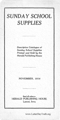 1914 Sunday School Supplies Herald Publishing House