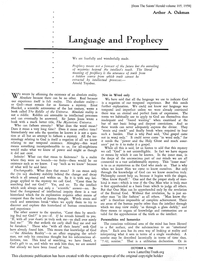 Language And Prophecy [from The Saints' Herald vol. 105]