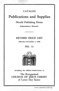 1930 Publications And Supplies Catalog Herald Publishing Houses