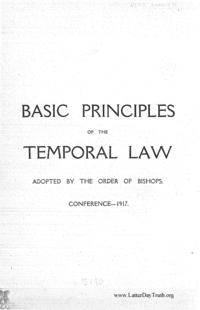 Basic Principles Of The Temporal Law Adopted By The Order Of Bishops, Conference 1917
