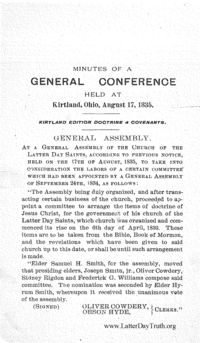 Minutes Of A General Conference Held At Kirtland, Ohio, August 17, 1835