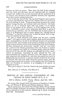 1862 Annual General Conference Minutes [from The True Latter Day Saints' Herald volume 2 pages 230-232]