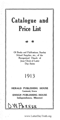 1913 Herald Publishing House And Bookbindery Catalogue And Price List