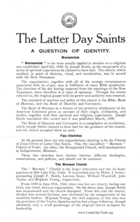 The Latter Day Saints A Question Of Identity