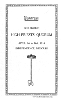 High Priests' Quorum Program 1918 Session April 6th To 16th, 1918, Independence, Missouri