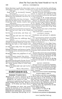 1866 Annual General Conference Minutes [from The True Latter Day Saints' Herald vol. 9 no. 8 pages 122-127]