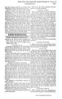 1866 Semi-Annual General Conference Minutes [from The True Latter Day Saints' Herald vol. 10 no. 9 pages 139-141]