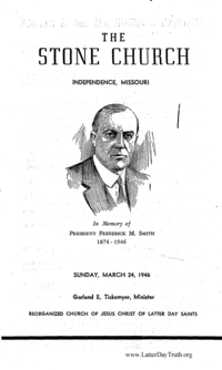 In Memory Of President Frederick M. Smith [The Stone Church Bulletin March 24, 1946]