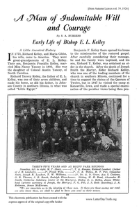 A Man Of Indomitable Will And Courage Early Life Of Bishop E. L. Kelley [from Autumn Leaves vol. 39], 1926