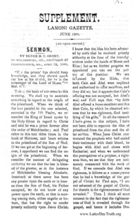 Sermon By M. T. Short [Supplement Lamoni Gazette], 1888