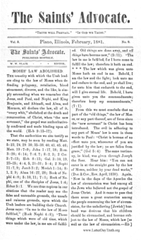 Moses' Law Abolished [from The Saints' Advocate vol. 3], 1881