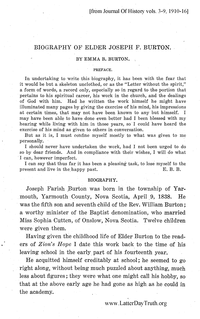 Biography Of Elder Joseph F. Burton [from Journal Of History vol. 3 to 9], 1910-16