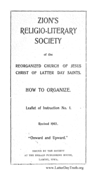 Zion's Religio-Literary Society Of The Reorganized Church Of Jesus Christ Of Latter Day Saints. How To Organize. Leaflet Of Instruction No. 1, 1903