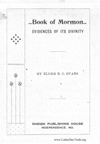The Book Of Mormon; Evidences Of Its Divinity n.d. [1910] (PDF)