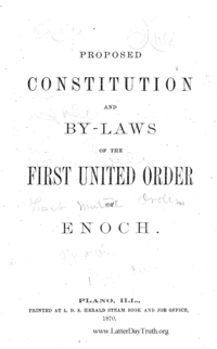 Proposed Constitution And By-Laws Of The First United Order Of Enoch, 1870