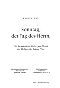 Sonntag, Der Tag Des Herrn (Sunday, The Lord's Day - in German)