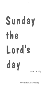 Sunday, The Lord's Day