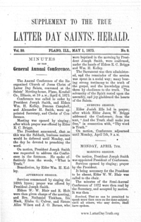 1873 Annual Conference Minutes [from Saints Herald]