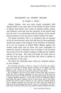 Biography Of Sidney Rigdon [from Journal Of History vol. 3 & vol. 4], 1910-11