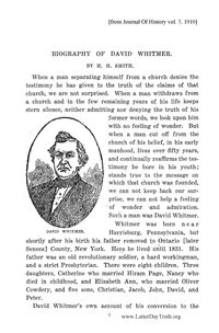 Biography Of David Whitmer [from Journal Of History vol. 3], 1910