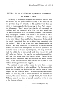 Biography Of Frederick Granger Williams [from Journal Of History vol. 4], 1911