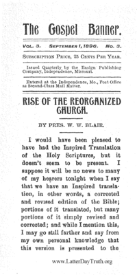 Rise Of The Reorganized Church [The Gospel Banner vol. 3 no. 3], 1896