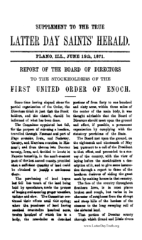 Report Of the Board Of Directors To The Stockholders Of The First United Order Of Enoch [Supplement To The True Latter Day Saints' Herald June 15, 1871], 1871