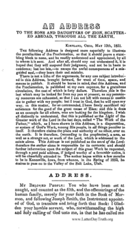 An Address To The Sons And Daughters Of Zion, Scattered Abroad, Through All The Earth, 1851