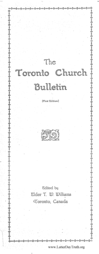The Toronto Church Bulletin [First Edition]