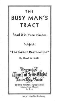 The Great Restoration [The Busy Man's Tract], n.d. (PDF)