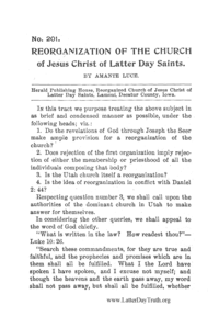 No. 201 Reorganization Of The Church Of Jesus Christ Of Latter Day Saints, n.d. [1910] (PDF)