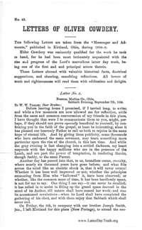 No. 43 Letters Of Oliver Cowdery, n.d. [1887] (PDF)